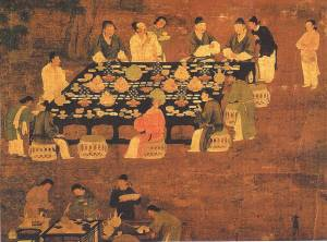 People enjoying Chinese cuisine during the Song Dynasty