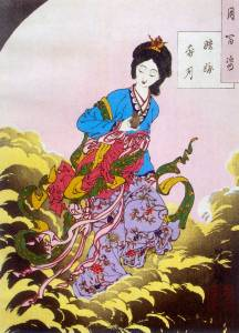Image of Chang'e, the moon goddess of immortality from a mooncake legend