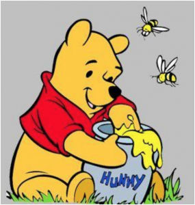 Winnie the Pooh eating some honey