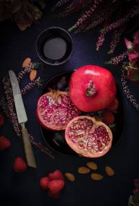 Pomegranates, eaten for its high concentration and anti-inflammatory properties