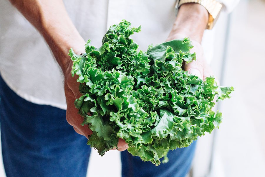 A handful of kale. Bitter foods like kale are helpful in expelling excess heat from the body by aiding in digestion.